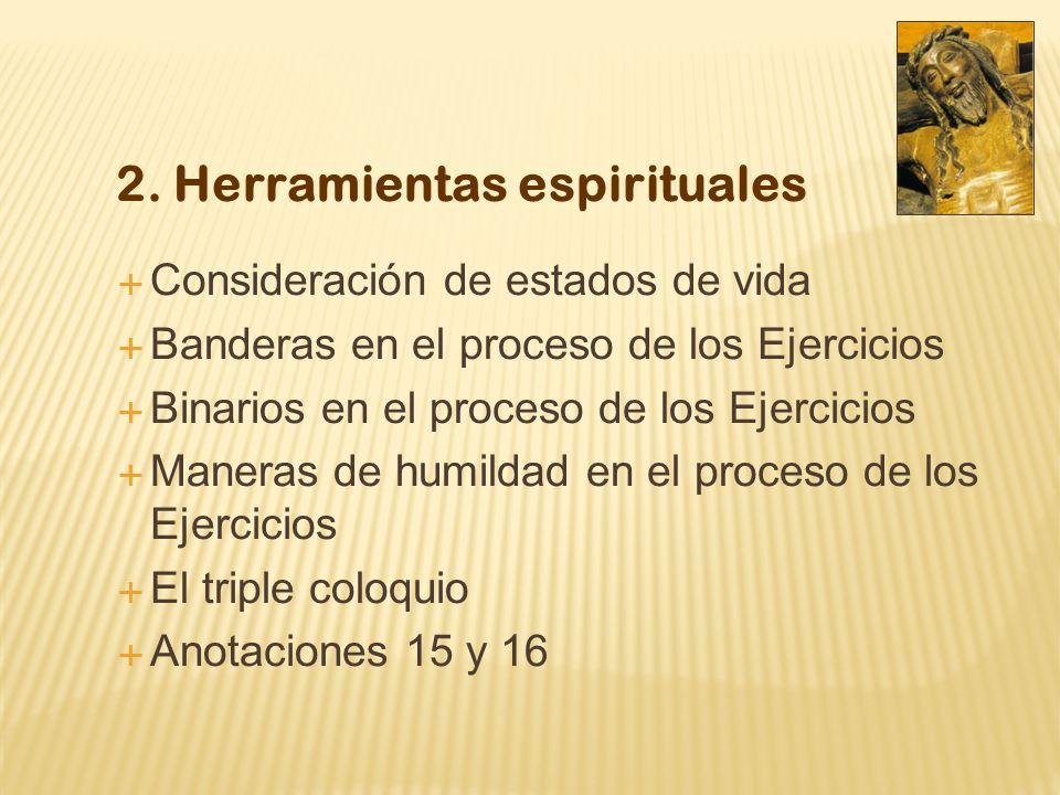 2. Herramientas espirituales Consideración de estados de vida Banderas en el proceso de los Ejercicios Binarios en el proceso de los Ejercicios Manera