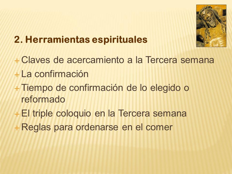 2. Herramientas espirituales Claves de acercamiento a la Tercera semana La confirmación Tiempo de confirmación de lo elegido o reformado El triple col