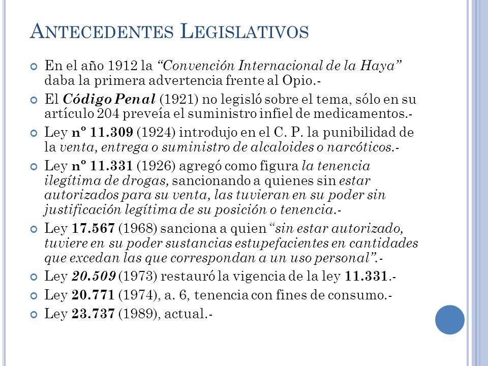 A NTECEDENTES L EGISLATIVOS En el año 1912 la Convención Internacional de la Haya daba la primera advertencia frente al Opio.- El Código Penal (1921)