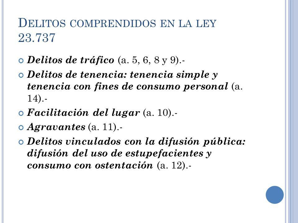 D ELITOS COMPRENDIDOS EN LA LEY 23.737 Delitos de tráfico (a. 5, 6, 8 y 9).- Delitos de tenencia: tenencia simple y tenencia con fines de consumo pers