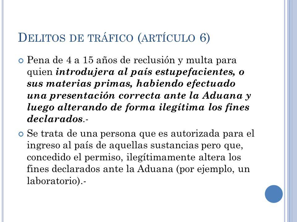 D ELITOS DE TRÁFICO ( ARTÍCULO 6) Pena de 4 a 15 años de reclusión y multa para quien introdujera al país estupefacientes, o sus materias primas, habi