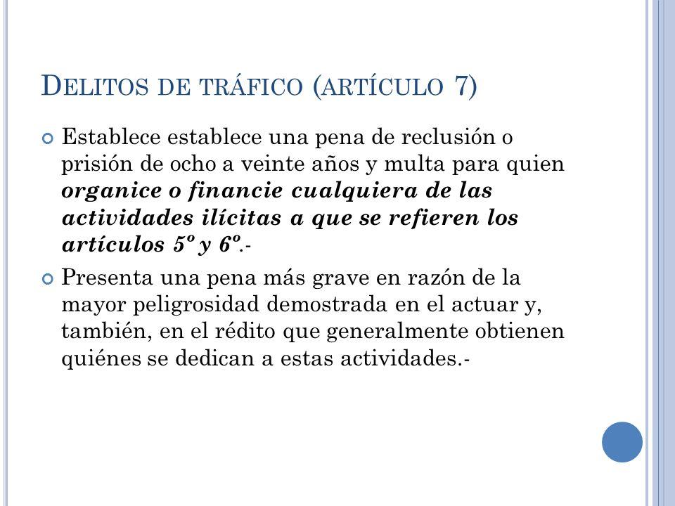 D ELITOS DE TRÁFICO ( ARTÍCULO 7) Establece establece una pena de reclusión o prisión de ocho a veinte años y multa para quien organice o financie cua
