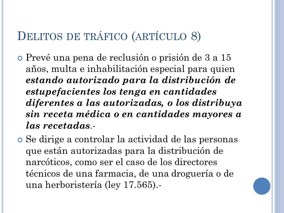 D ELITOS DE TRÁFICO ( ARTÍCULO 8) Prevé una pena de reclusión o prisión de 3 a 15 años, multa e inhabilitación especial para quien estando autorizado