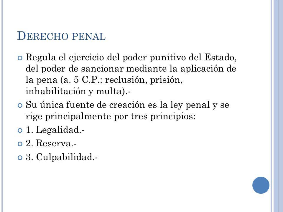 D ERECHO PENAL Regula el ejercicio del poder punitivo del Estado, del poder de sancionar mediante la aplicación de la pena (a. 5 C.P.: reclusión, pris