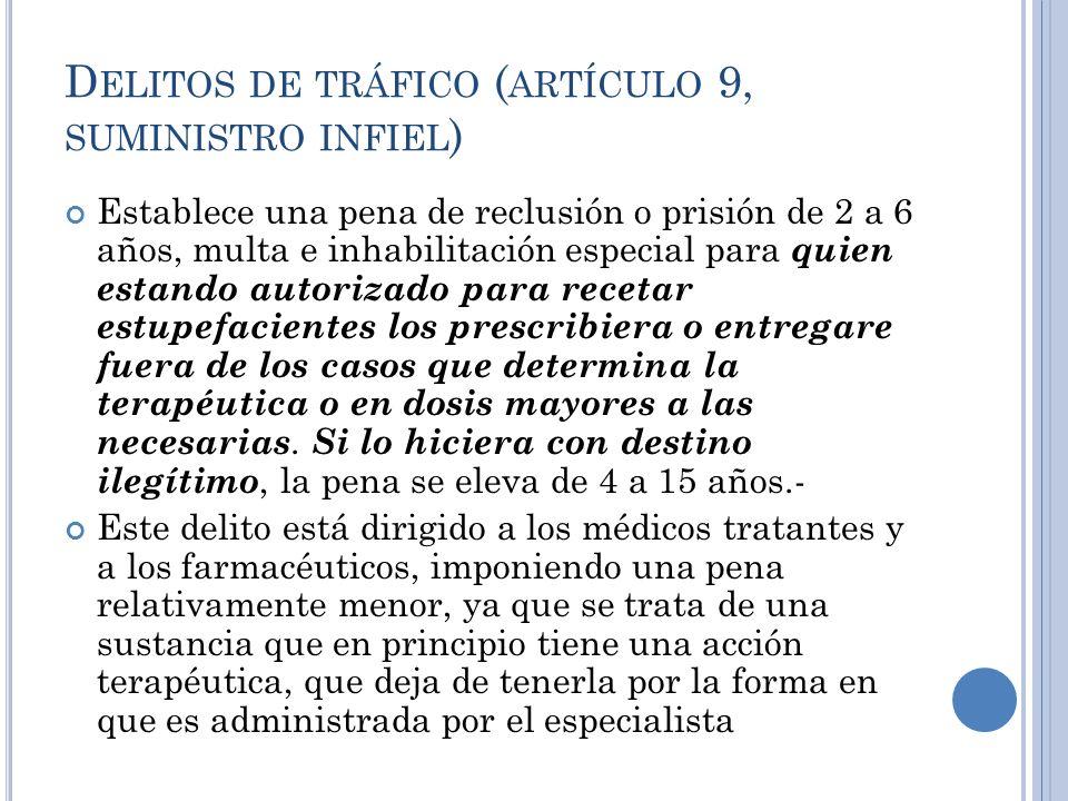 D ELITOS DE TRÁFICO ( ARTÍCULO 9, SUMINISTRO INFIEL ) Establece una pena de reclusión o prisión de 2 a 6 años, multa e inhabilitación especial para qu