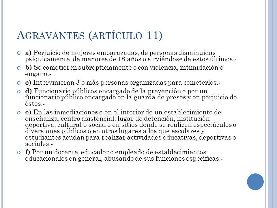 A GRAVANTES ( ARTÍCULO 11) a) Perjuicio de mujeres embarazadas, de personas disminuidas psíquicamente, de menores de 18 años o sirviéndose de estos úl