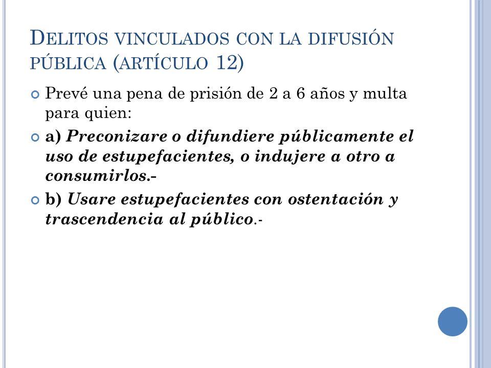 D ELITOS VINCULADOS CON LA DIFUSIÓN PÚBLICA ( ARTÍCULO 12) Prevé una pena de prisión de 2 a 6 años y multa para quien: a) Preconizare o difundiere púb