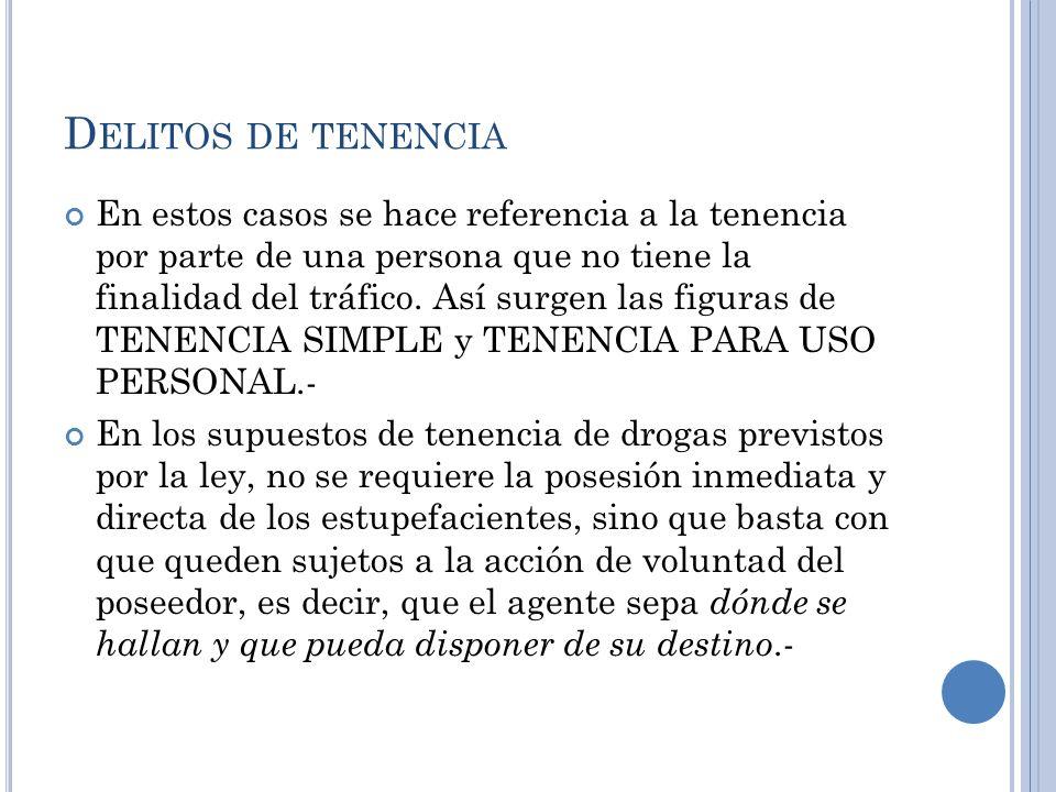 D ELITOS DE TENENCIA En estos casos se hace referencia a la tenencia por parte de una persona que no tiene la finalidad del tráfico. Así surgen las fi