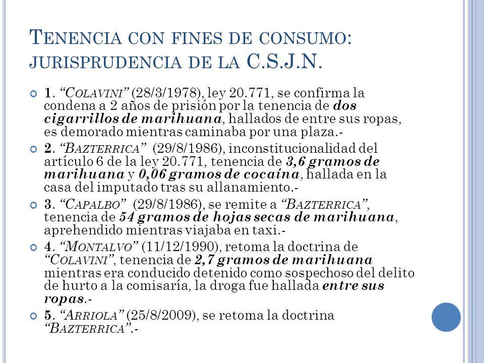 T ENENCIA CON FINES DE CONSUMO : JURISPRUDENCIA DE LA C.S.J.N. 1.C OLAVINI (28/3/1978), ley 20.771, se confirma la condena a 2 años de prisión por la
