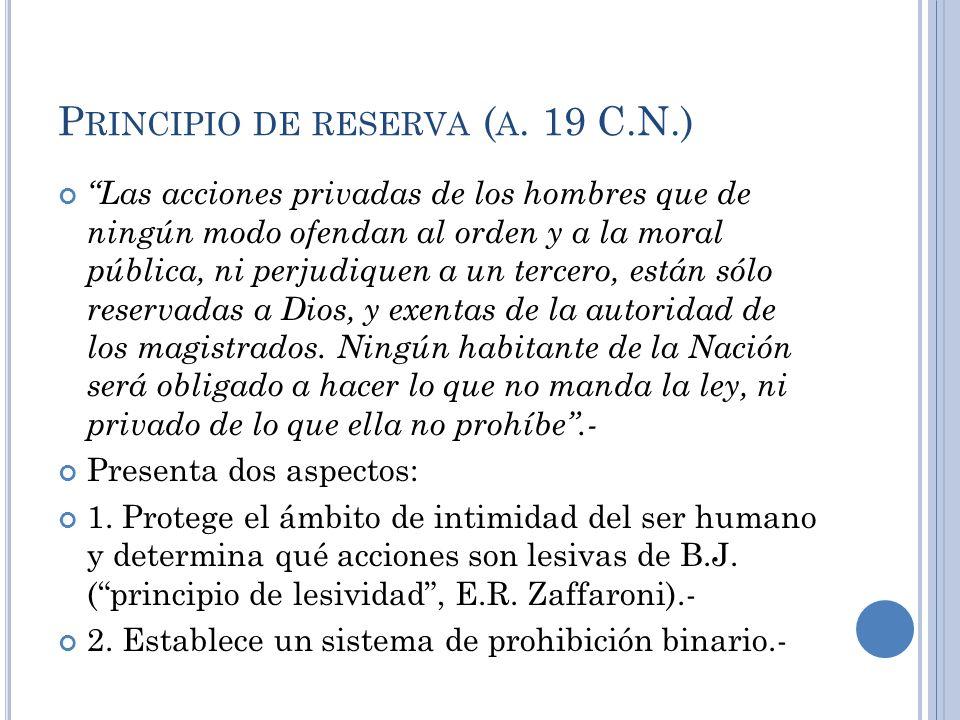P RINCIPIO DE RESERVA ( A. 19 C.N.) Las acciones privadas de los hombres que de ningún modo ofendan al orden y a la moral pública, ni perjudiquen a un