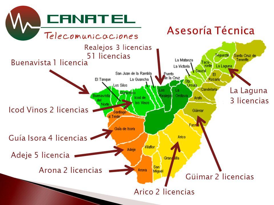 51 licencias Buenavista 1 licencia Guía Isora 4 licencias Arona 2 licencias Adeje 5 licencia Arico 2 licencias Güimar 2 licencias La Laguna 3 licencias Realejos 3 licencias Icod Vinos 2 licencias