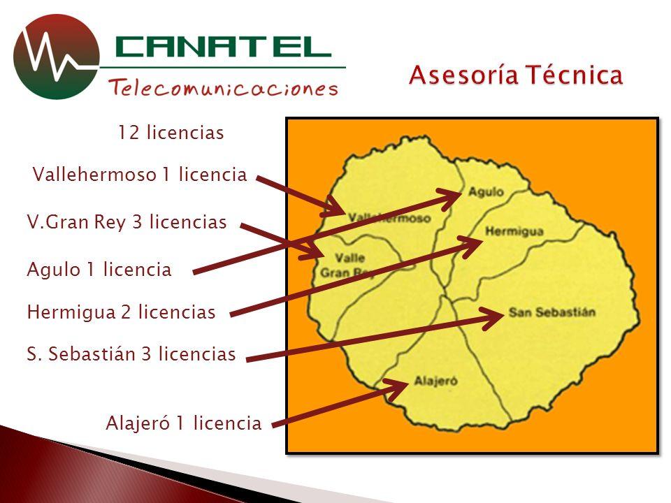12 licencias Agulo 1 licencia Vallehermoso 1 licencia S.