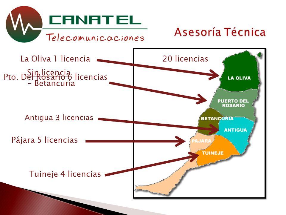 Pto. Del Rosario 6 licencias 20 licencias Sin licencia - Betancuria Pájara 5 licencias Tuineje 4 licencias Antigua 3 licencias La Oliva 1 licencia