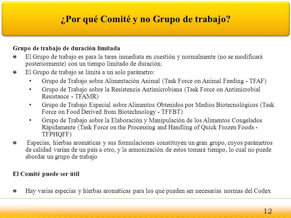 Jodhpur ¿Por qué Comité y no Grupo de trabajo? Grupo de trabajo de duración limitada El Grupo de trabajo es para la tarea inmediata en cuestión y norm