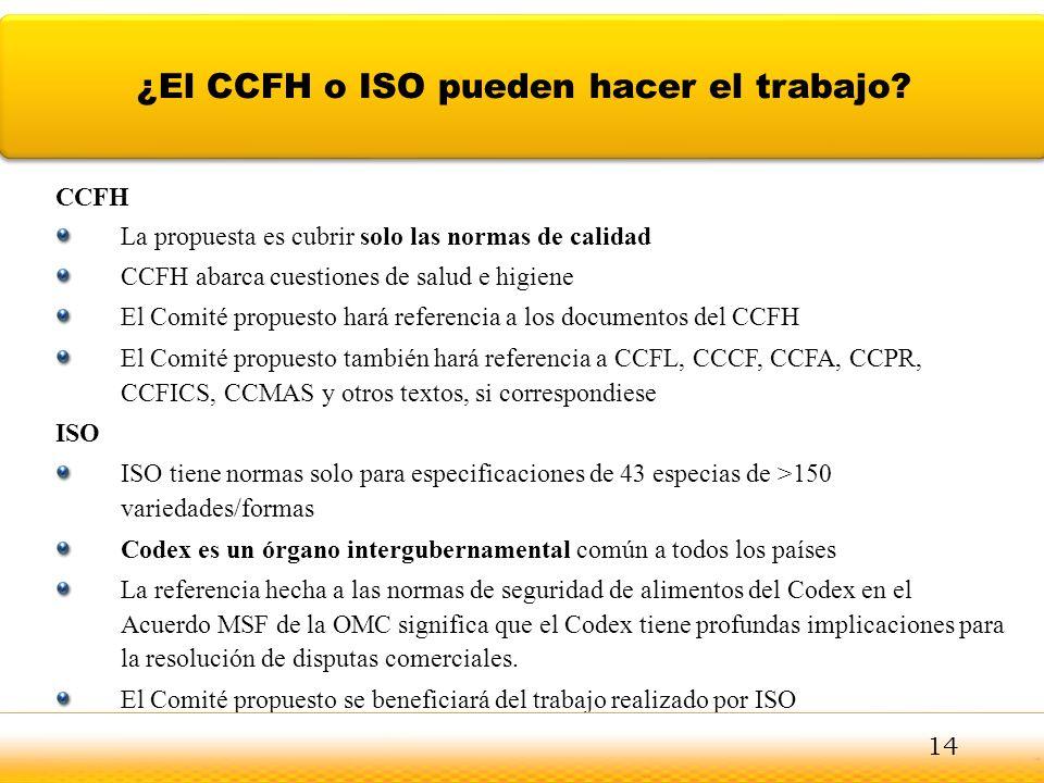 CCFH La propuesta es cubrir solo las normas de calidad CCFH abarca cuestiones de salud e higiene El Comité propuesto hará referencia a los documentos