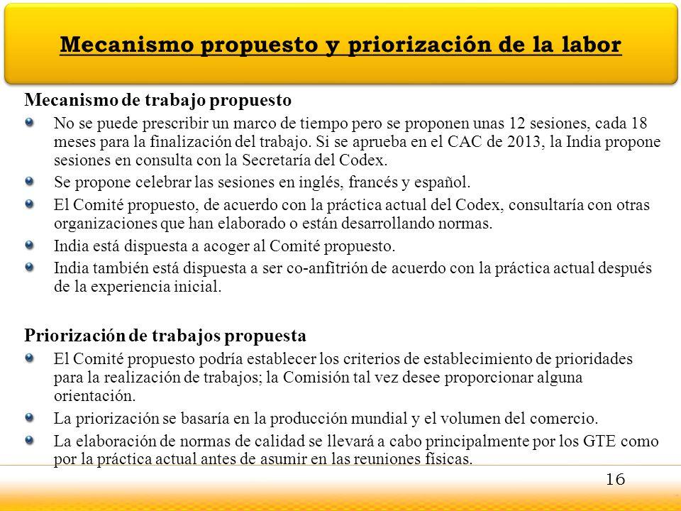 Jodhpur Mecanismo propuesto y priorización de la labor Mecanismo de trabajo propuesto No se puede prescribir un marco de tiempo pero se proponen unas