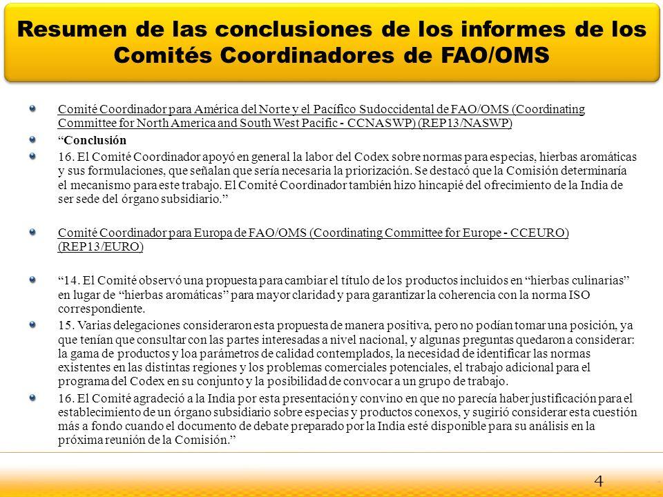 Jodhpur Resumen de las conclusiones de los informes de los Comités Coordinadores de FAO/OMS Comité Coordinador para América del Norte y el Pacífico Su