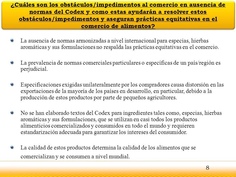 Guntur Se recomienda que la Comisión del Codex Alimentarius pueda examinar la propuesta para el establecimiento de un Comité del Codex sobre especias, hierbas aromáticas y sus formulaciones, teniendo en cuenta las conclusiones de los Comités Coordinadores de FAO/OMS y la consideración de estas conclusiones que figuran en este documento de debate y se explican en las diapositivas anteriores En caso de que la Comisión esté de acuerdo en establecer el Comité del Codex propuesto, se recomienda adoptar una decisión respecto de lo siguiente: Alcance del trabajo propuesto; los Términos de referencia, y considerar la aprobación de las cuatro propuestas de trabajo que permiten al Comité para iniciar el trabajo en su primera reunión.