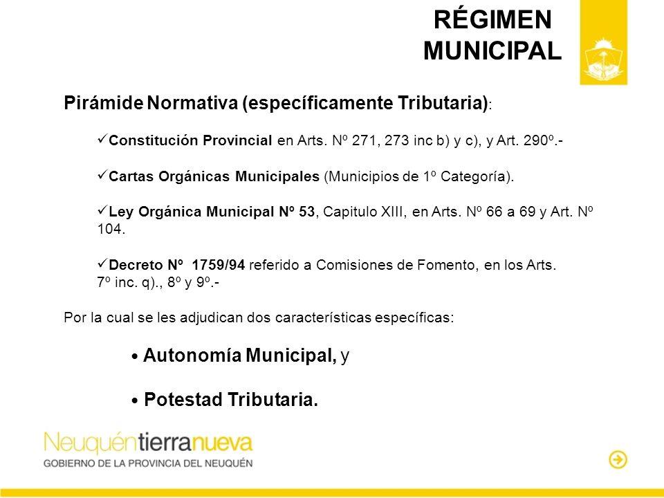 RÉGIMEN MUNICIPAL Pirámide Normativa (específicamente Tributaria) : Constitución Provincial en Arts. Nº 271, 273 inc b) y c), y Art. 290º.- Cartas Org