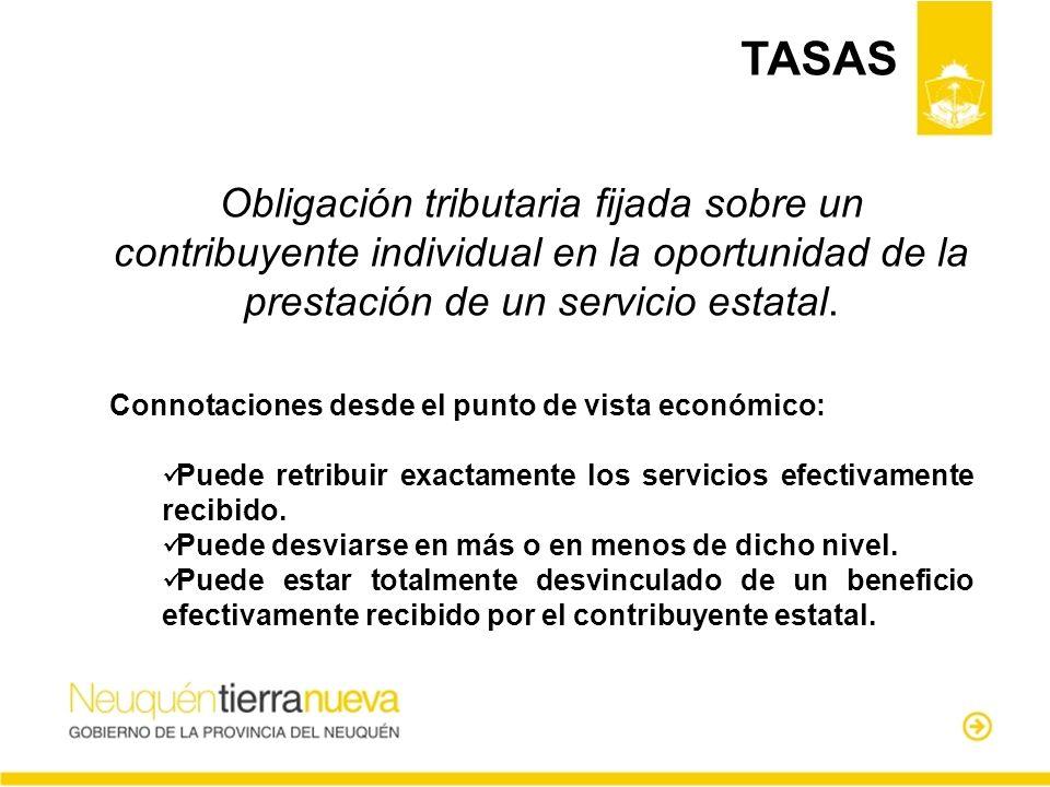 Obligación tributaria fijada sobre un contribuyente individual en la oportunidad de la prestación de un servicio estatal. Connotaciones desde el punto