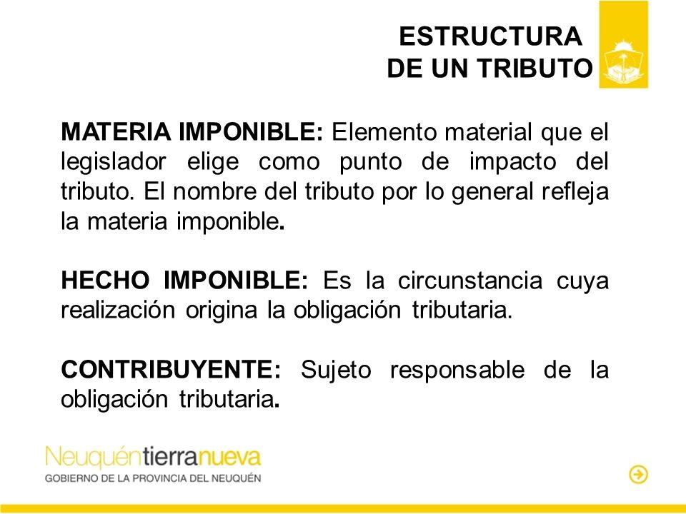 MATERIA IMPONIBLE: Elemento material que el legislador elige como punto de impacto del tributo. El nombre del tributo por lo general refleja la materi