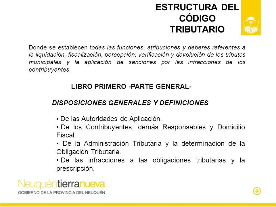 ESTRUCTURA DEL CÓDIGO TRIBUTARIO Donde se establecen todas las funciones, atribuciones y deberes referentes a la liquidación, fiscalización, percepció
