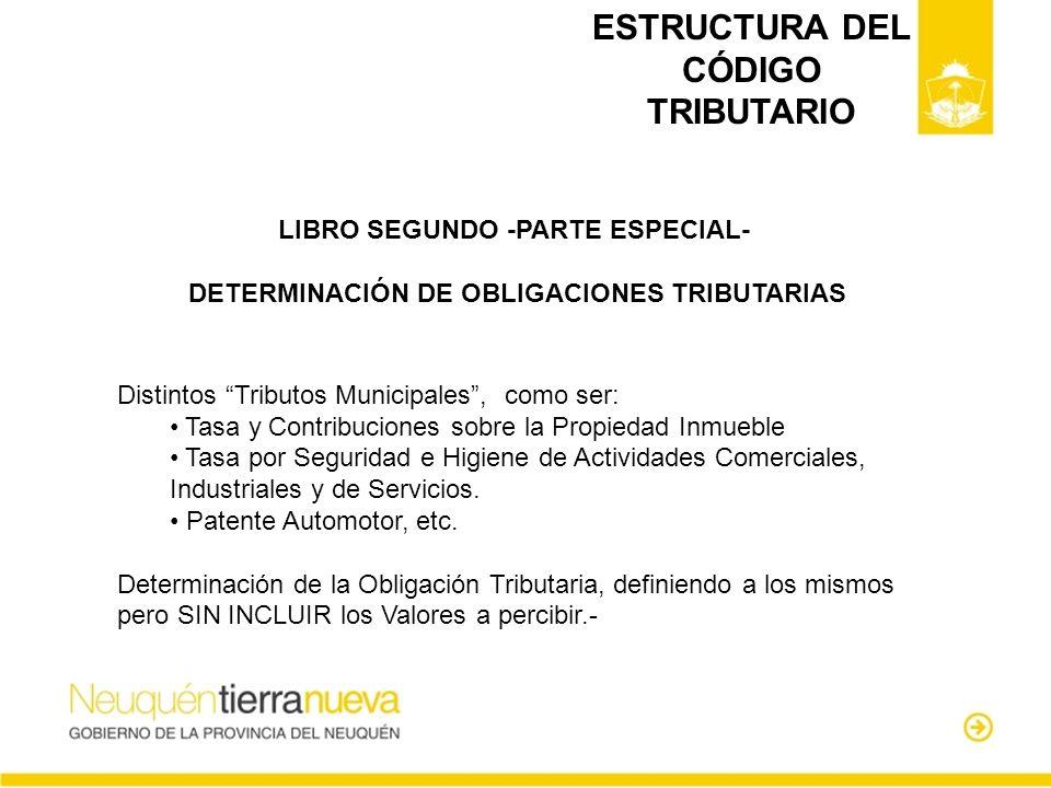 ESTRUCTURA DEL CÓDIGO TRIBUTARIO LIBRO SEGUNDO -PARTE ESPECIAL- DETERMINACIÓN DE OBLIGACIONES TRIBUTARIAS Distintos Tributos Municipales, como ser: Ta