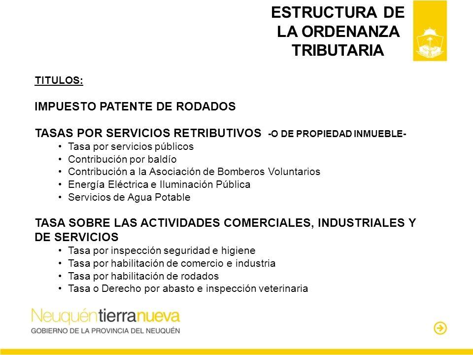 ESTRUCTURA DE LA ORDENANZA TRIBUTARIA TITULOS: IMPUESTO PATENTE DE RODADOS TASAS POR SERVICIOS RETRIBUTIVOS -O DE PROPIEDAD INMUEBLE- Tasa por servici