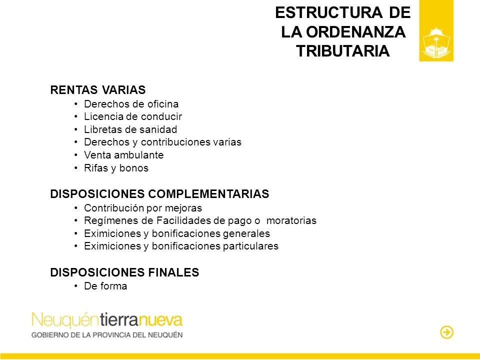 ESTRUCTURA DE LA ORDENANZA TRIBUTARIA RENTAS VARIAS Derechos de oficina Licencia de conducir Libretas de sanidad Derechos y contribuciones varias Vent