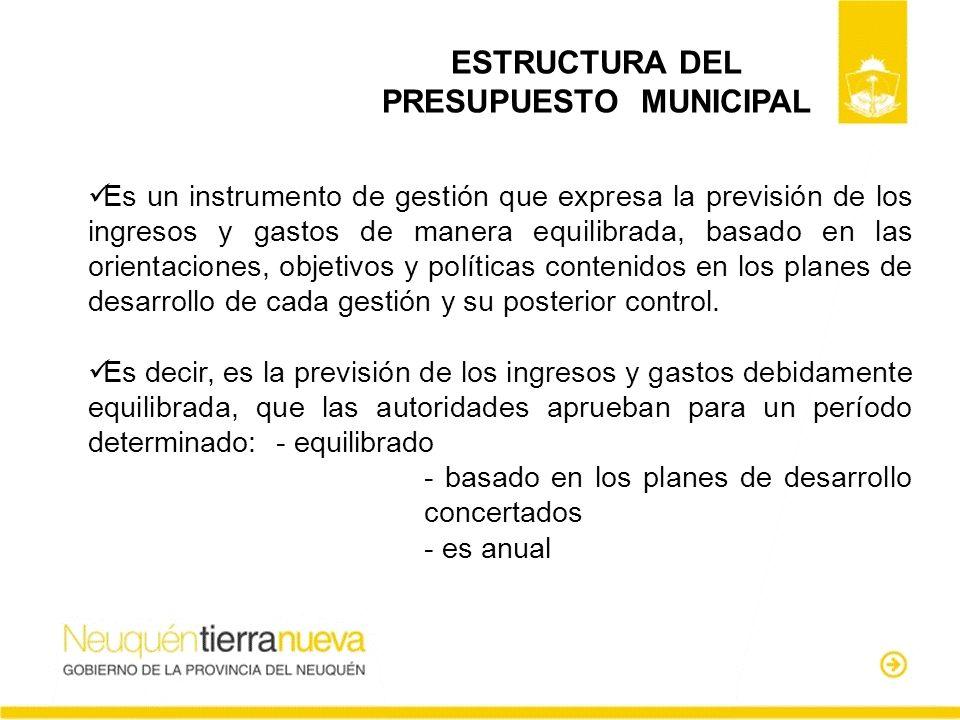 ESTRUCTURA DEL PRESUPUESTO MUNICIPAL Es un instrumento de gestión que expresa la previsión de los ingresos y gastos de manera equilibrada, basado en l