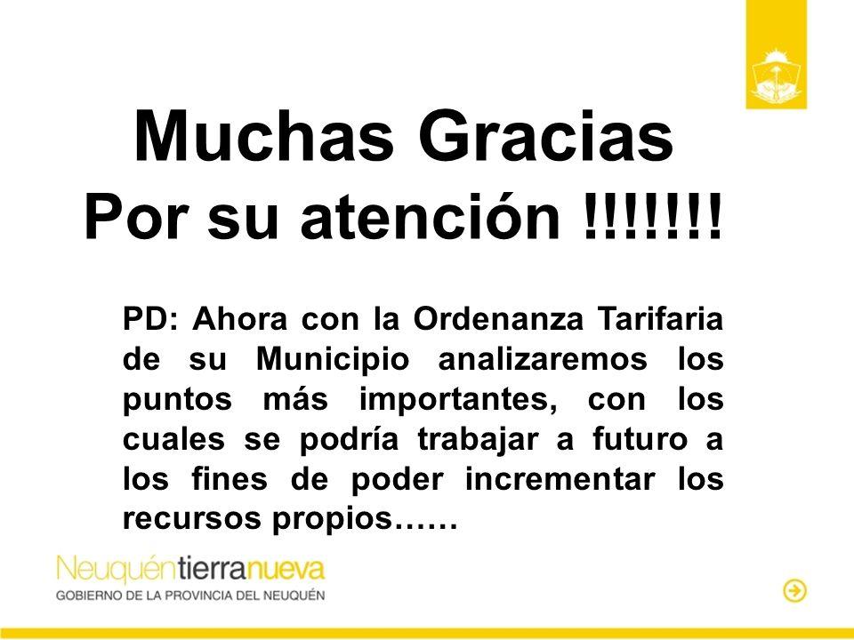 Muchas Gracias Por su atención !!!!!!! PD: Ahora con la Ordenanza Tarifaria de su Municipio analizaremos los puntos más importantes, con los cuales se