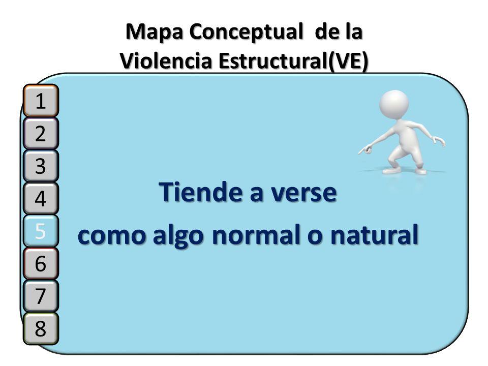 Mapa Conceptual de la Violencia Estructural(VE) Tiende a verse como algo normal o natural 2 3 4 5 1 6 7 8