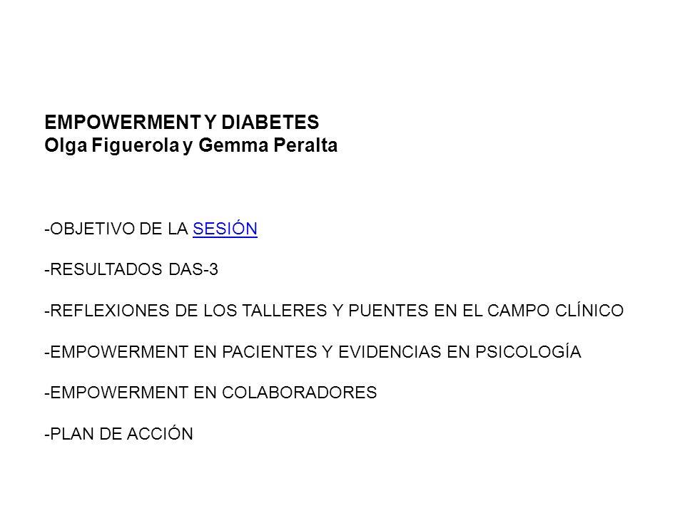 EMPOWERMENT Y DIABETES Olga Figuerola y Gemma Peralta -OBJETIVO DE LA SESIÓNSESIÓN -RESULTADOS DAS-3 -REFLEXIONES DE LOS TALLERES Y PUENTES EN EL CAMP
