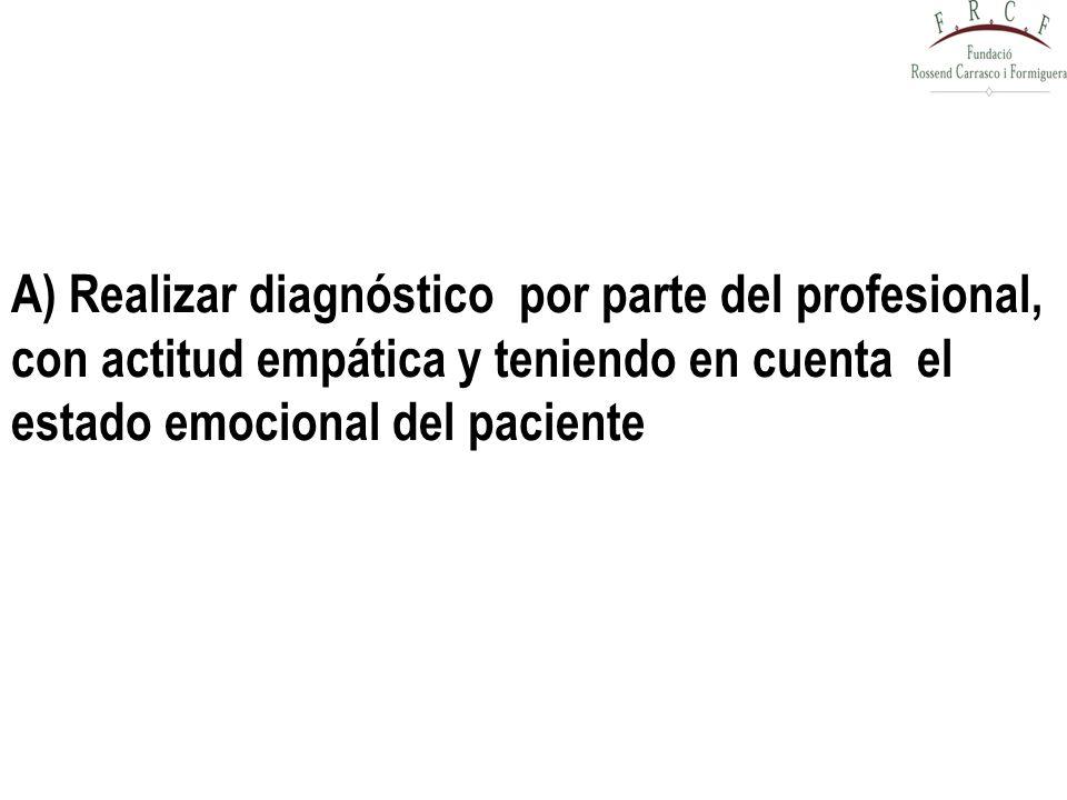 A) Realizar diagnóstico por parte del profesional, con actitud empática y teniendo en cuenta el estado emocional del paciente