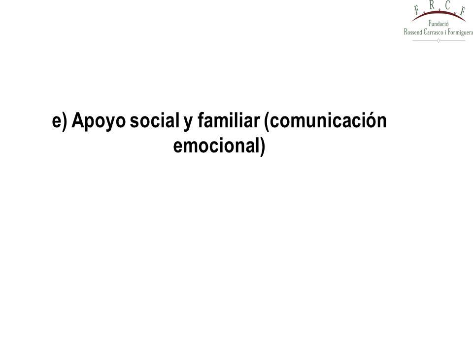 e) Apoyo social y familiar (comunicación emocional)