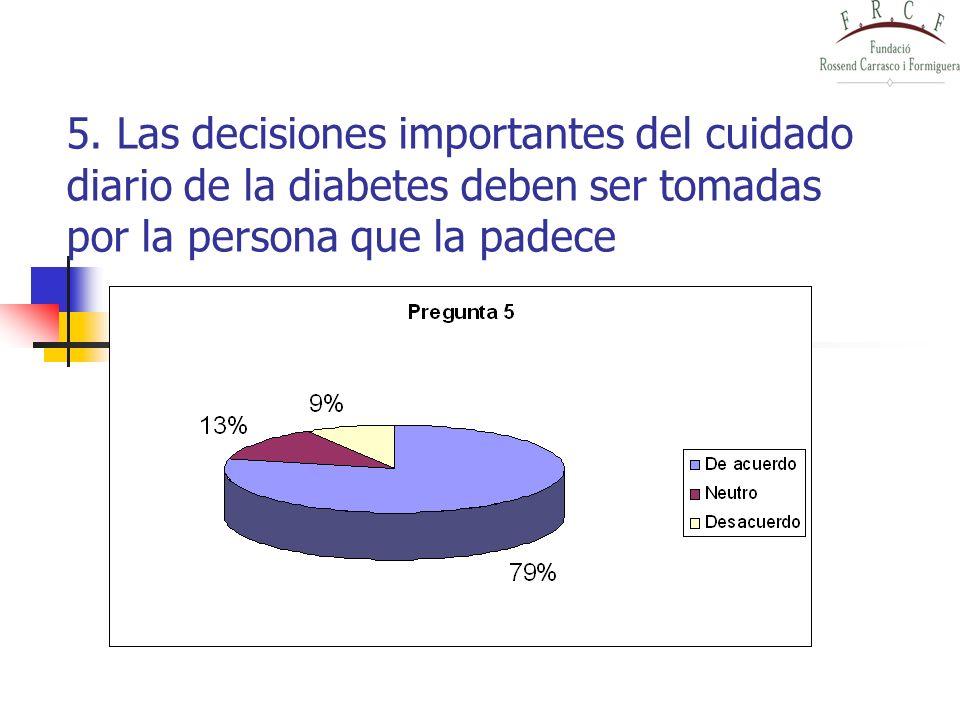 5. Las decisiones importantes del cuidado diario de la diabetes deben ser tomadas por la persona que la padece