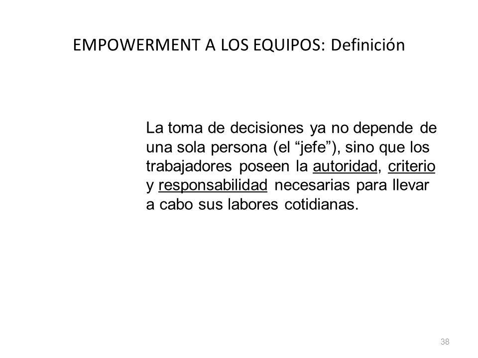 38 EMPOWERMENT A LOS EQUIPOS: Definición La toma de decisiones ya no depende de una sola persona (el jefe), sino que los trabajadores poseen la autori