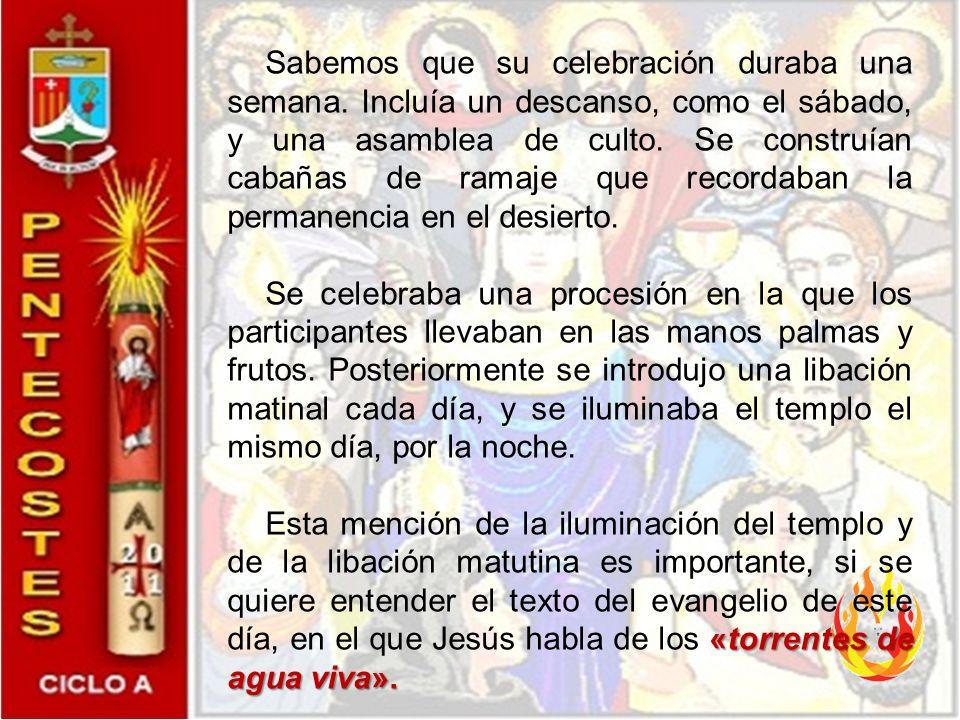 Después de haber evocado su origen (Jn. 7, 25-29) y luego su partida (Jn. 7, 33-36), Jesús anuncia el don del Espíritu Santo; de esta manera el evange