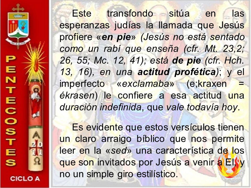 «De sus entrañas manarán torrentes de agua viva». Situando el grito de Jesús en el último día de la fiesta de las Tiendas, Juan orienta el lector haci