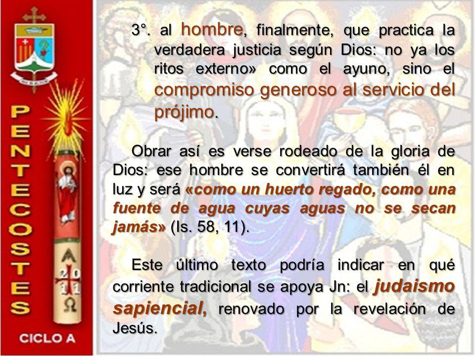 Por tanto, conviene pensar en la Escritura en general, en donde aparece la imagen de la fuente en tres niveles: se aplica 1°. a Dios : «Sacarán aguas