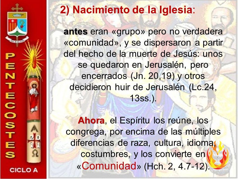 PENTECOSTES es: 1)Confirmación de los Apóstoles en la FE: antes antes eran simpatizantes, cercanos, dispuestos a seguirlo, pero no eran verdaderamente