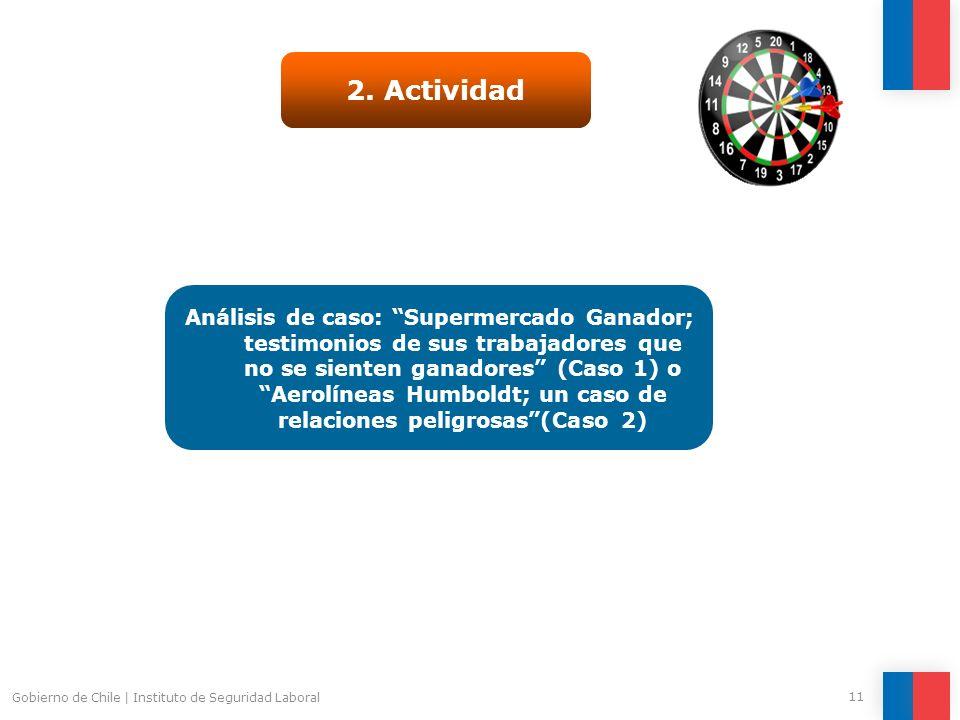 Gobierno de Chile   Instituto de Seguridad Laboral 11 2. Actividad Análisis de caso: Supermercado Ganador; testimonios de sus trabajadores que no se s