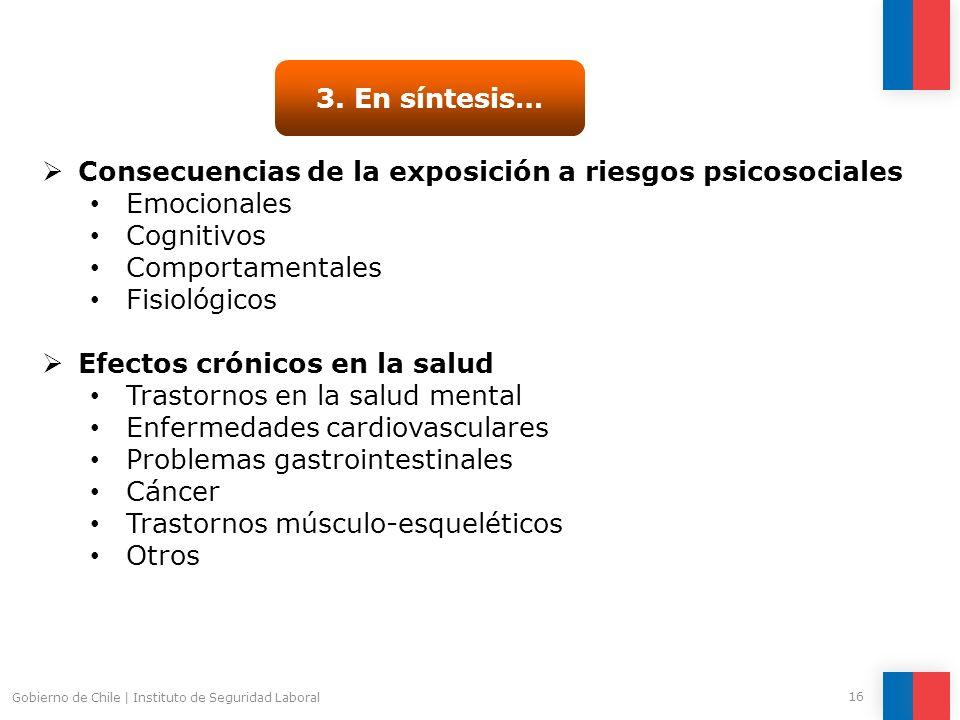 Gobierno de Chile   Instituto de Seguridad Laboral 16 3. En síntesis… Consecuencias de la exposición a riesgos psicosociales Emocionales Cognitivos Co