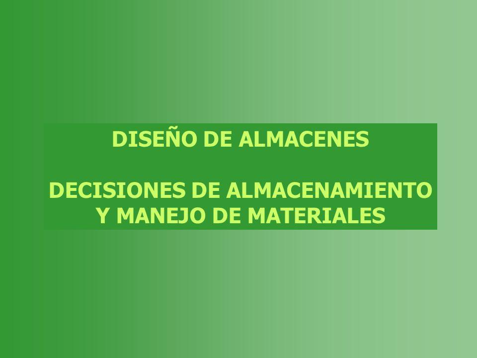 DISEÑO DE ALMACENES DECISIONES DE ALMACENAMIENTO Y MANEJO DE MATERIALES