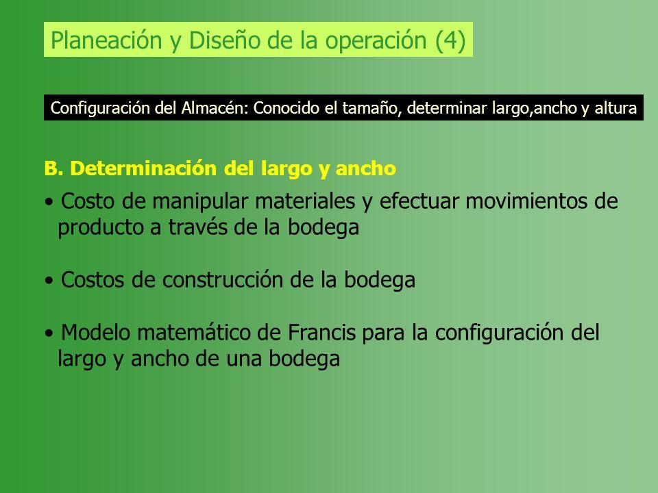 Planeación y Diseño de la operación (4) Configuración del Almacén: Conocido el tamaño, determinar largo,ancho y altura B. Determinación del largo y an