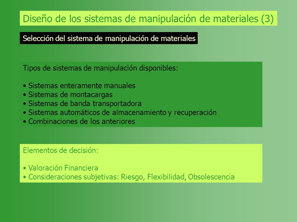Diseño de los sistemas de manipulación de materiales (3) Selección del sistema de manipulación de materiales Tipos de sistemas de manipulación disponi