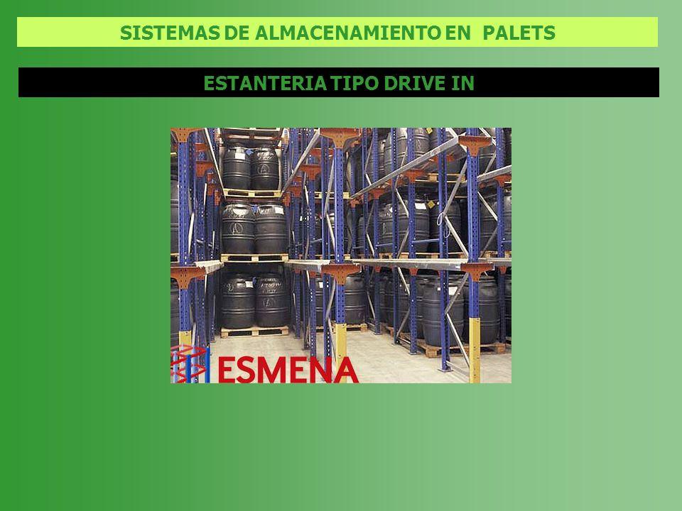 SISTEMAS DE ALMACENAMIENTO EN PALETS ESTANTERIA TIPO DRIVE IN