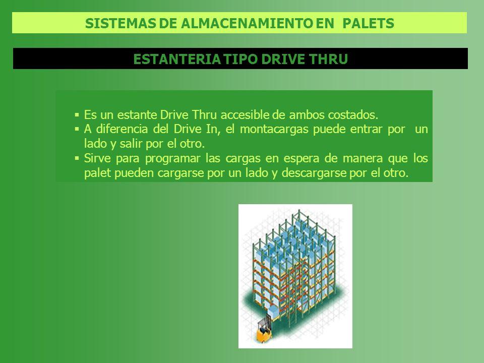 SISTEMAS DE ALMACENAMIENTO EN PALETS ESTANTERIA TIPO DRIVE THRU Es un estante Drive Thru accesible de ambos costados. A diferencia del Drive In, el mo