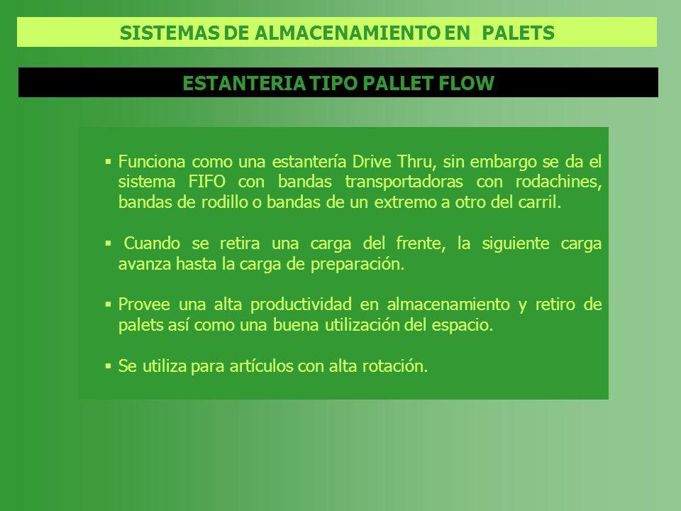 SISTEMAS DE ALMACENAMIENTO EN PALETS ESTANTERIA TIPO PALLET FLOW Funciona como una estantería Drive Thru, sin embargo se da el sistema FIFO con bandas