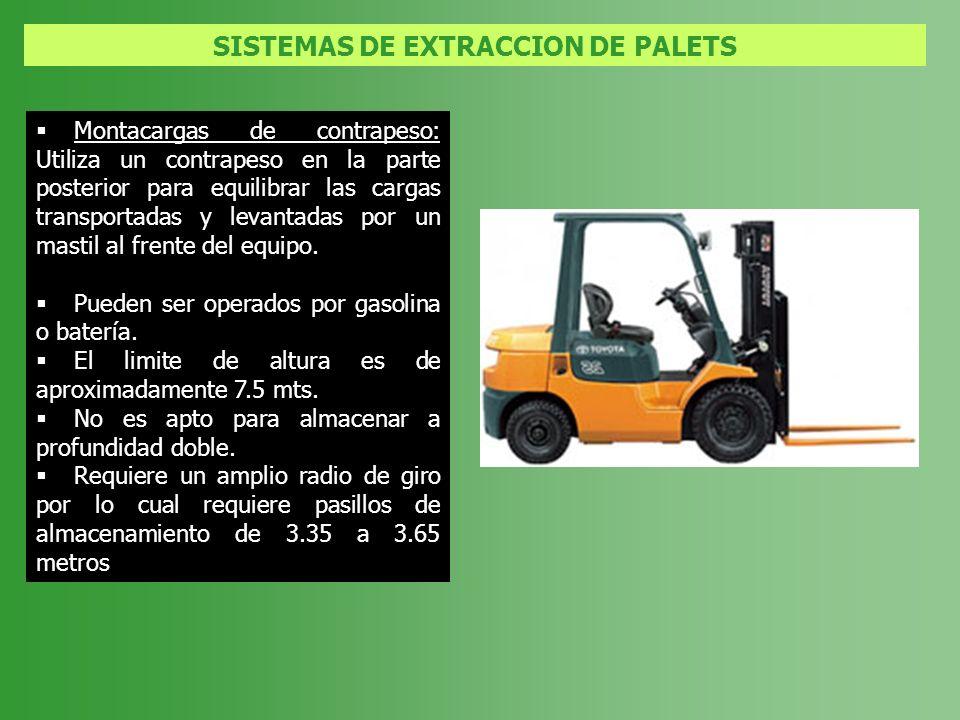 SISTEMAS DE EXTRACCION DE PALETS Montacargas de contrapeso: Utiliza un contrapeso en la parte posterior para equilibrar las cargas transportadas y lev